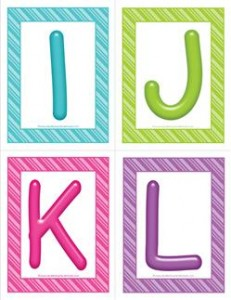 stripes and candy colorful letters - uppercase IJKL