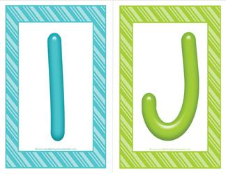stripes and candy colorful letters - uppercase IJ