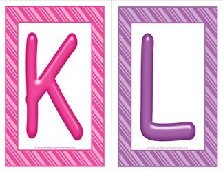 stripes and candy colorful letters - uppercase KL