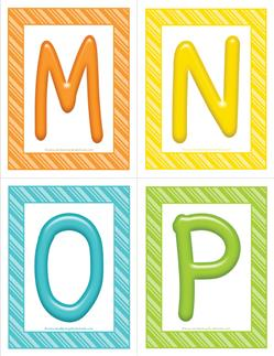 stripes and candy colorful letters - uppercase MNOP