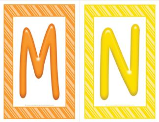 stripes and candy colorful letters - uppercase MN