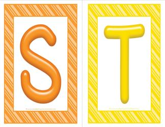 stripes and candy colorful letters - uppercase ST