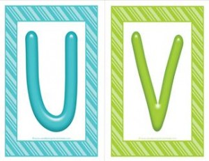 stripes and candy colorful letters - uppercase UV