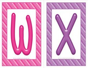 stripes and candy colorful letters - uppercase WX