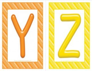 stripes and candy colorful letters - uppercase YZ