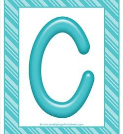 stripes and candy colorful letters - uppercase c