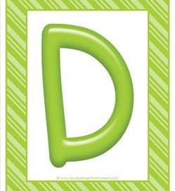 stripes and candy colorful letters - uppercase d