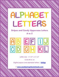 stripes and candy colorful letters uppercase - entire set