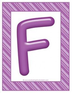stripes and candy colorful letters - uppercase f