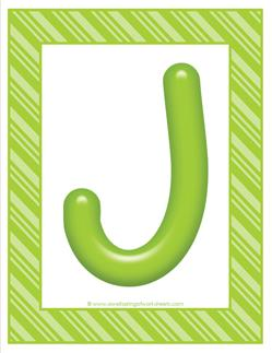 stripes and candy colorful letters - uppercase j