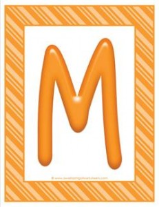 stripes and candy colorful letters - uppercase m