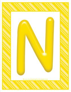 stripes and candy colorful letters - uppercase n