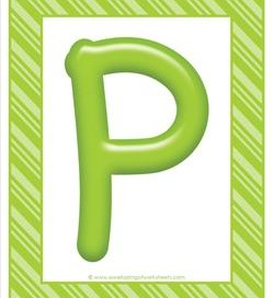 stripes and candy colorful letters - uppercase p