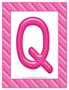 stripes and candy colorful letters - uppercase q