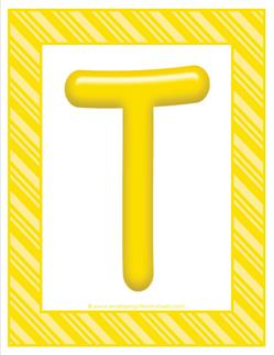 stripes and candy colorful letters - uppercase t