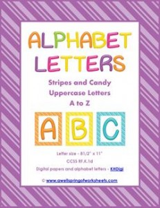 stripes and candy colorful letters uppercase whole set
