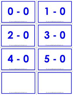 subtraction flash cards - 0s - within 5 - color
