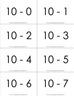 subtraction flash cards - 10s - 0-10 - b&w