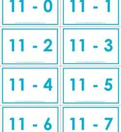 subtraction flash cards 0-20 11's color