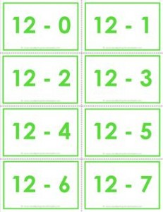 subtraction flash cards - 0-20 - 12's color