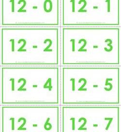 subtraction flash cards - 0-20 - 12's color