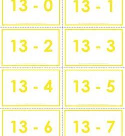 subtraction flash cards 0-20 13's color