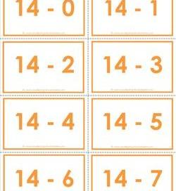 subtraction flash cards 0-20 14's color