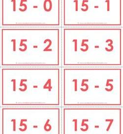 subtraction flash cards 0-20 15's color