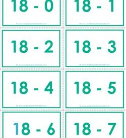 subtraction flash cards 0-20 18's color