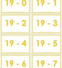 subtraction flash cards 0-20 19's color