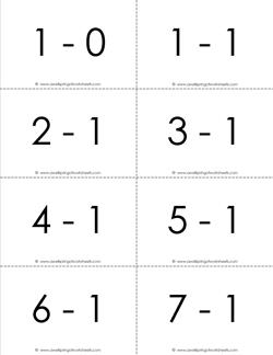 subtraction flash cards 1s 1-10 b&w