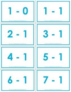 subtraction flash cards 1s 0-10 color