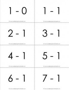 subtraction flash cards 0-20 - 1's b&w