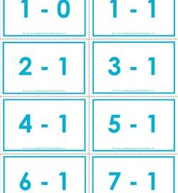 subtraction flash cards - 0-20- 1's -color