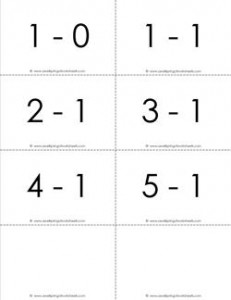 subtraction flash cards - 1s - within 5 - bw