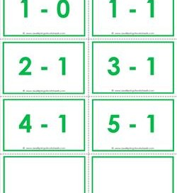 subtraction flash cards - 1s color - within 5 - color