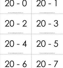subtraction flash cards 0-20 20's b&w