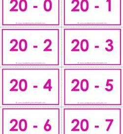 subtraction flash cards 0-20 20's color