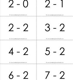 subtraction flash cards - 2s - 0-10 black and white
