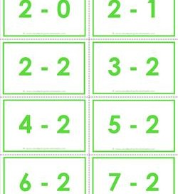 subtraction flash cards - 2s - 0-10 - color
