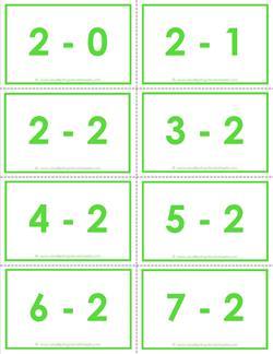 subtraction flash cards - 2s - 0-10 - color