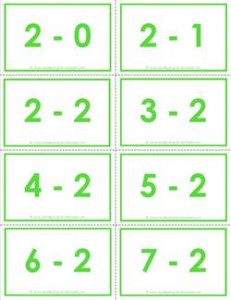 subtraction flash cards 0-20 2's color