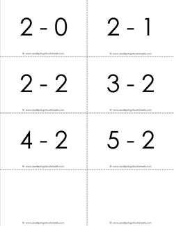 subtraction flash cards - 2s - within 5 b&w
