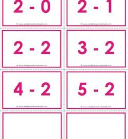 subtraction flash cards - 2s within 5 color