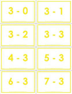 subtraction flash cards - 3s - 0-10 - color