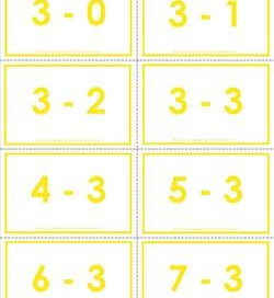subtraction flash cards 0-20 3's color