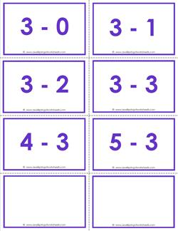 subtraction flash cards - 3s within 5 - color