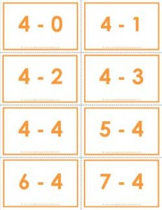 subtraction flash cards - 4s - 0-10 - color
