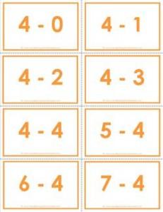 subtraction flash cards - 4s - 0-10 - color