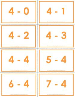 subtraction flash cards 0-2 - 4's color